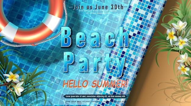 Sjabloon voor zomerfeestuitnodiging zwembadfeest met opblaasbare ringen in het water