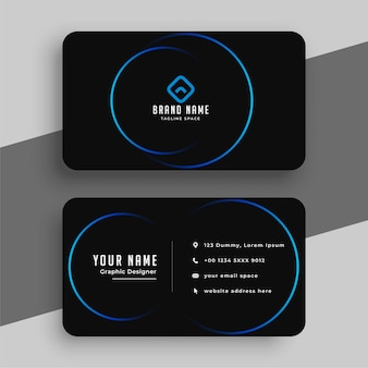 Sjabloon voor zwart en blauw minimaal visitekaartje