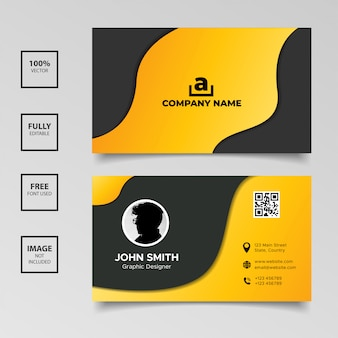 Sjabloon voor zwart-wit golvende visitekaartjes met kleurovergang