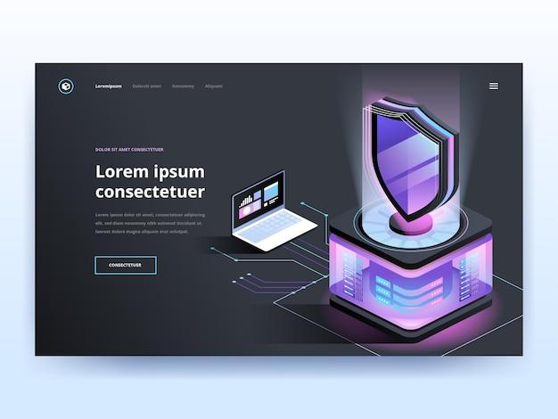 Sjabloon voor zwarte bestemmingspagina's voor cyberbeveiligingssoftware. antivirus website homepage interface idee met isometrische vectorillustraties. malware beschermingssoftware webbanner donkere kleur 3d-concept