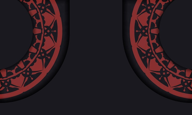 Sjabloon voor zwarte spandoek met ornamenten en plaats voor uw logo en tekst. afdrukbare achtergrond ontwerpsjabloon met vintage patronen.