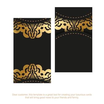 Sjabloon voor zwarte visitekaartjes met gouden abstract patroon