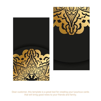 Sjabloon voor zwarte visitekaartjes met gouden abstracte ornament