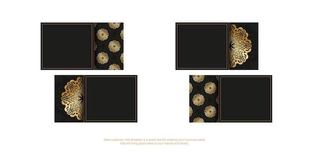 Sjabloon voor zwarte visitekaartjes met gouden grieks patroon