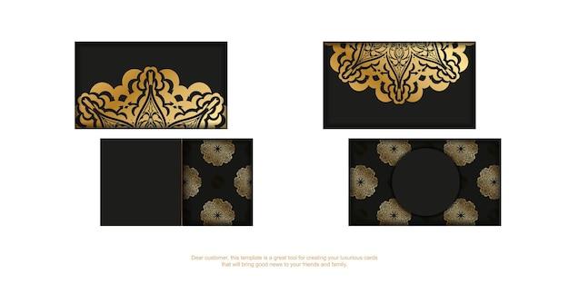 Sjabloon voor zwarte visitekaartjes met gouden griekse ornament