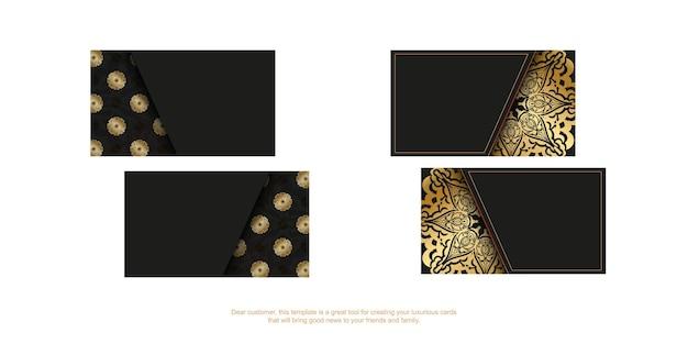 Sjabloon voor zwarte visitekaartjes met gouden indiaas patroon