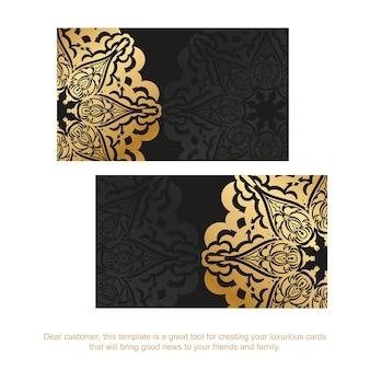 Sjabloon voor zwarte visitekaartjes met gouden vintage ornament
