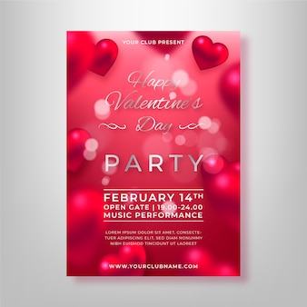 Sjabloon wazig valentijnsdag partij flyer