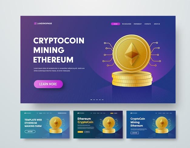 Sjabloon webkop met gouden stapels ethereum-munten en elementen van microschakelingen.