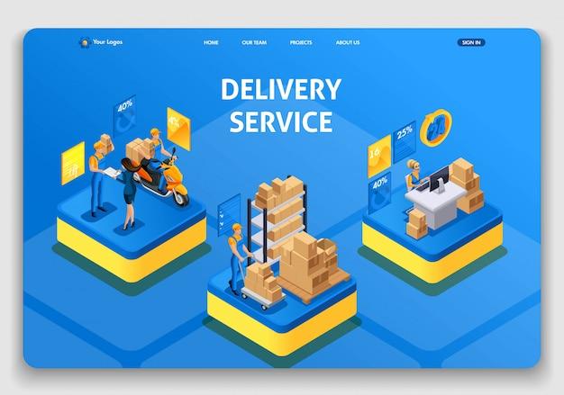 Sjabloon website. isometrisch concept werken met bezorgservice. snelle levering, online bestelling, callcenter. gemakkelijk te bewerken en aanpassen uiux bestemmingspagina