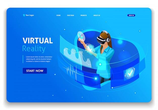 Sjabloon website. isometrisch concept zakenvrouw werk, augmented reality, time management. gemakkelijk te bewerken en aan te passen