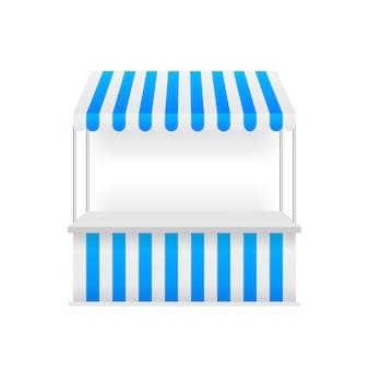 Sjabloon winkelstribune met rode en witte gestreepte luifel, mock up