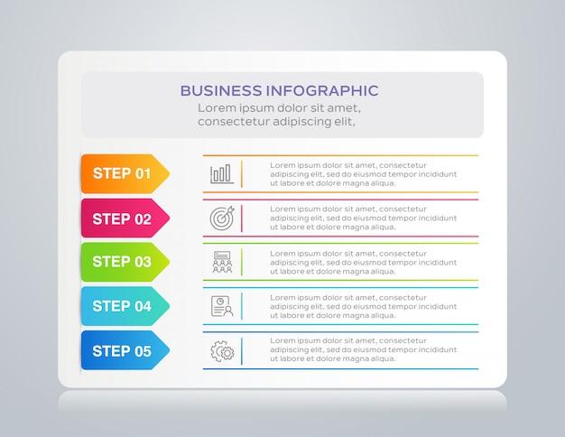 Sjabloon zakelijke infographic met 5 stappen