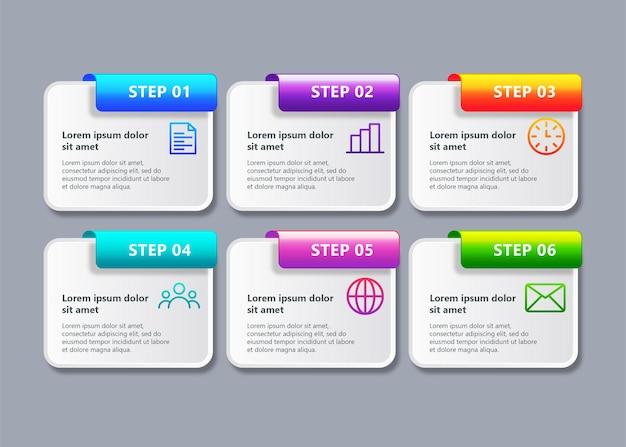 Sjabloon zakelijke infographic met 6 stappen