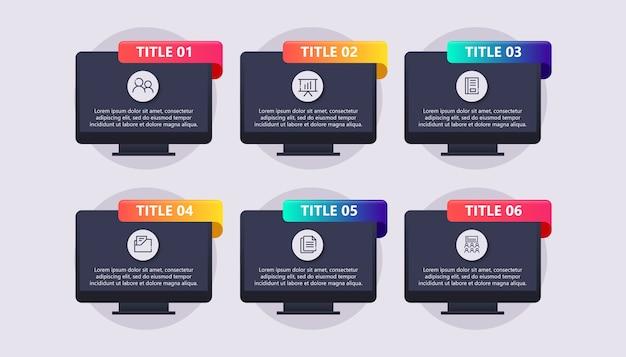 Sjabloon zakelijke infographic met computer
