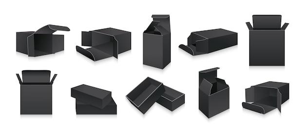 Sjabloon zwarte 3d-box set lege realistische verpakking geschenkdozen productcollectie