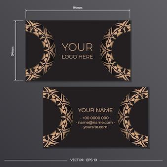 Sjabloon zwarte presentabele visitekaartjes. decoratieve visitekaartje ornamenten, oosters patroon, illustratie.