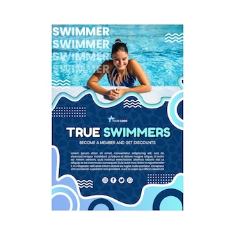 Sjabloon zwemmen poster