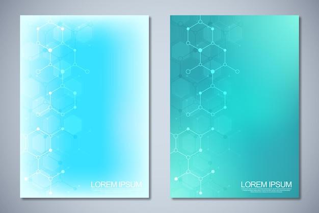 Sjabloonbrochure of omslagboekpaginalay-out flyerontwerp met moleculaire structuren