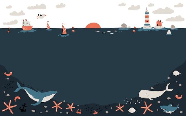 Sjabloonhorizon met de bodem van de oceaan en de fauna. een schip, boten en een vuurtoren met een vissershuisje. mariene inwoners hieronder.