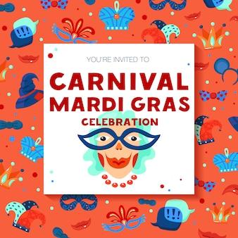 Sjabloonkaart carnaval decoratief frame