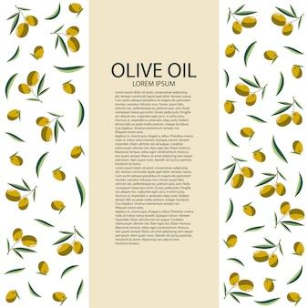 Sjabloonlabel met olijven voor uw fles olijfolie. vector illustratie.