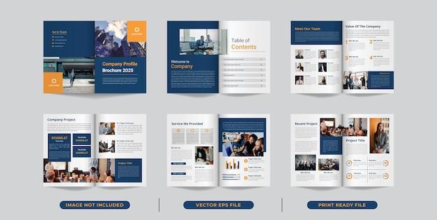 Sjabloonlay-outontwerp met voorblad voor bedrijfsbrochureontwerp of bedrijfsprofiel
