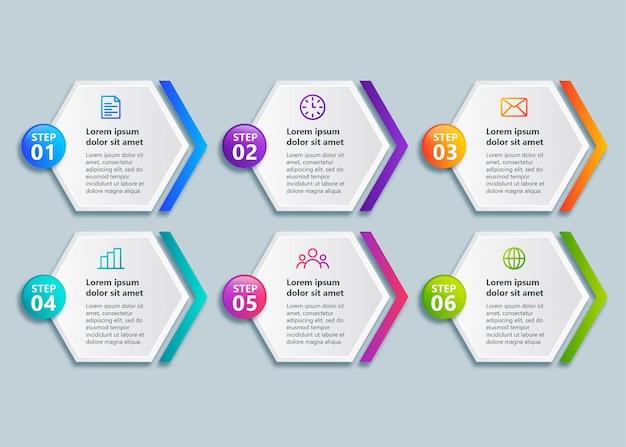Sjabloonontwerp infograph met 6 stappen