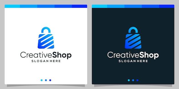 Sjabloonontwerp logo boodschappentas abstract met symbool beginletter e of w. premium vector