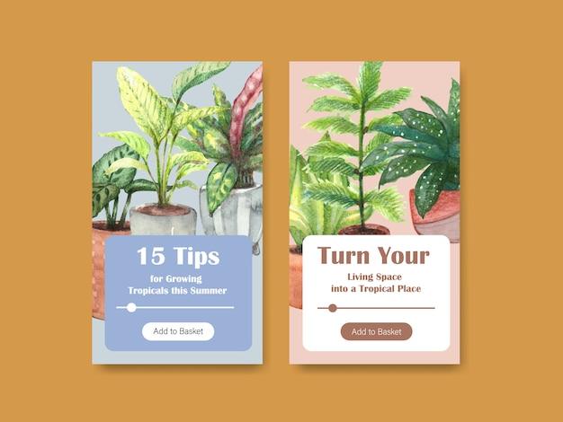 Sjabloonontwerp met zomerplanten en kamerplanten voor sociale media, online community, internet en reclame voor aquarelillustratie