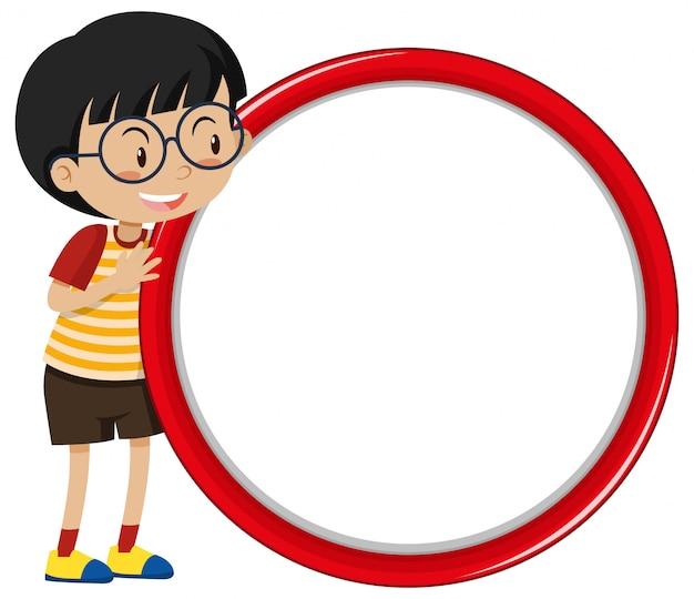 Sjabloonontwerp spandoek met jongen en rode cirkel