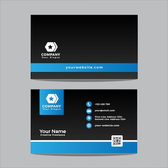 Sjabloonontwerp visitekaartjes modern zwart en blauw