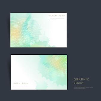 Sjabloonontwerp voor abstract visitekaartjes met wazige aquarelachtergrond