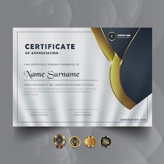 Sjabloonontwerp voor abstracte gouden certificaatprijs
