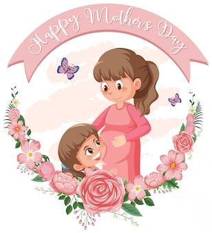 Sjabloonontwerp voor gelukkige moederdag met moeder en meisje