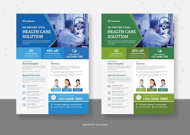 Sjabloonontwerp voor gezondheidszorg en medisch flyers Premium Vector