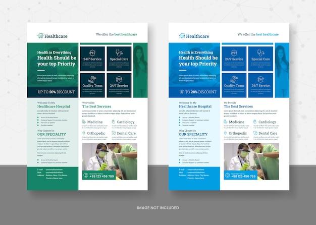 Sjabloonontwerp voor gezondheidszorg en medisch flyers