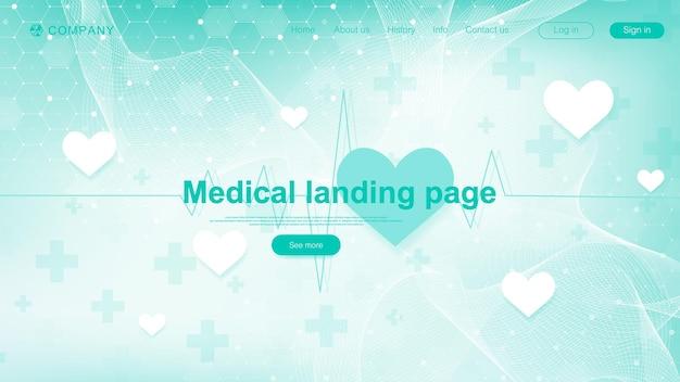 Sjabloonontwerp voor medische bestemmingspagina. sjabloon voor abstract gezondheidszorg spandoek. asbtract wetenschappelijke achtergrond met zeshoeken. innovatie patroon. vector illustratie.