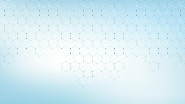 Sjabloonontwerp voor medische gezondheidszorg. achtergrond met groene zeshoeken. moleculaire structuren, innovatiepatroon, genetisch onderzoek. medisch begrip. wetenschappelijke vectorillustratie.