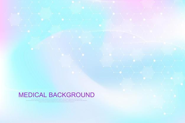 Sjabloonontwerp voor medische gezondheidszorg. achtergrond met zeshoeken. moleculaire structuren, innovatiepatroon, genetisch onderzoek. medisch begrip. wetenschappelijke vectorillustratie.