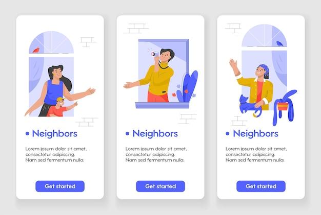 Sjabloonontwerp voor mobiele app-pagina met burenconcept