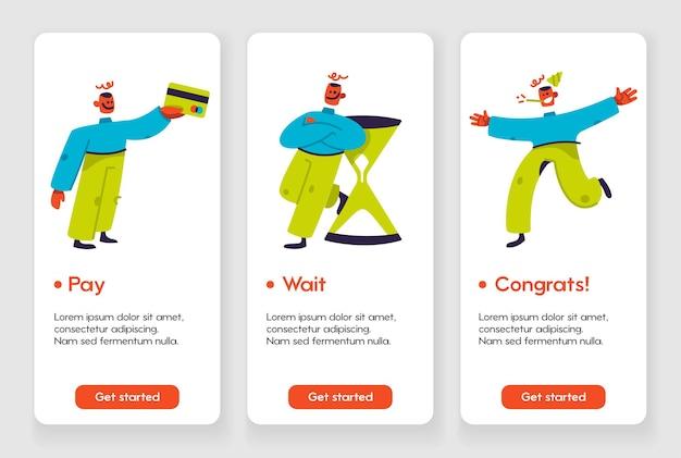 Sjabloonontwerp voor mobiele app-pagina met wachten en gefeliciteerd