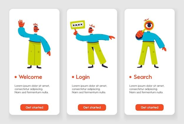 Sjabloonontwerp voor mobiele app-pagina met welkomstlogin en zoeken