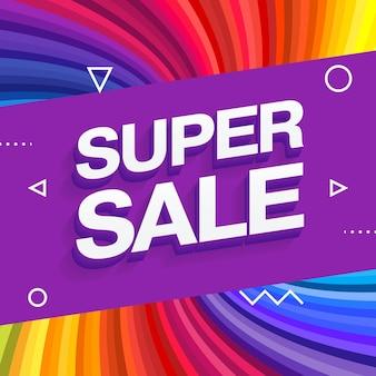 Sjabloonontwerp voor verkoopbanner, banner met speciale aanbieding aan het einde van het seizoen. kleurrijke regenboog stralen achtergrond. vector illustratie.