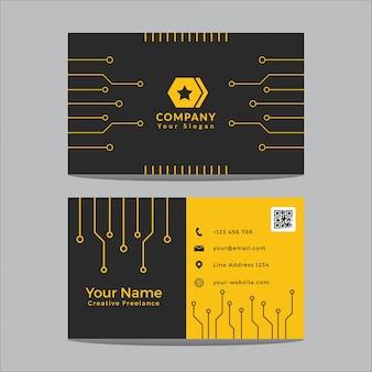 Sjabloonontwerp voor visitekaartjes modern zwart en geel