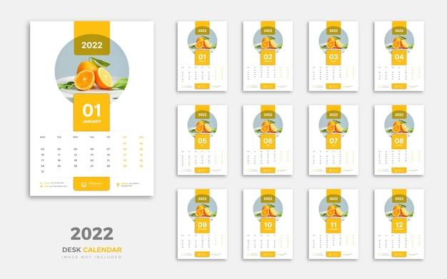Sjabloonontwerp voor wandkalender 2022