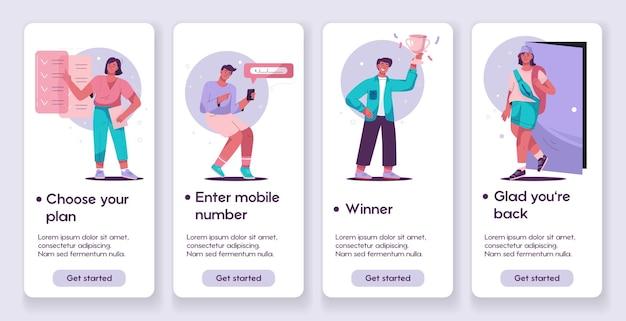 Sjabloonontwerpen voor concept voor mobiele app-pagina's