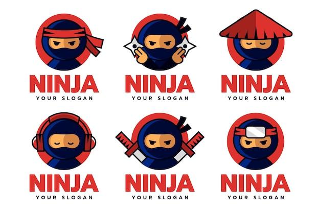 Sjabloonpakket met plat ontwerp ninja-logo