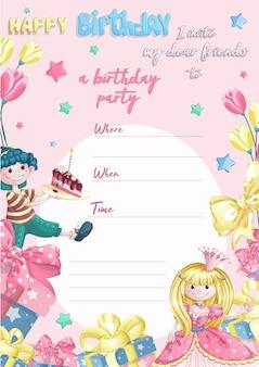 Sjabloonuitnodiging voor het verjaardagsfeest van een kind voor kleine prinsessen.