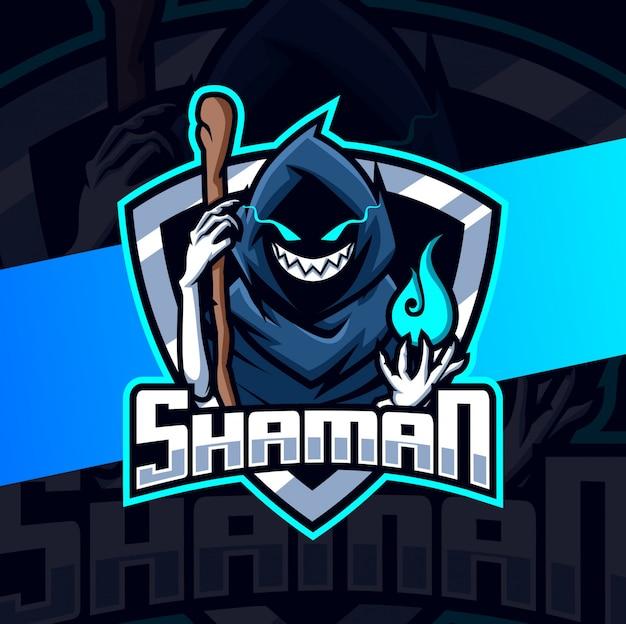 Sjamaan donkere mascotte esport logo ontwerp